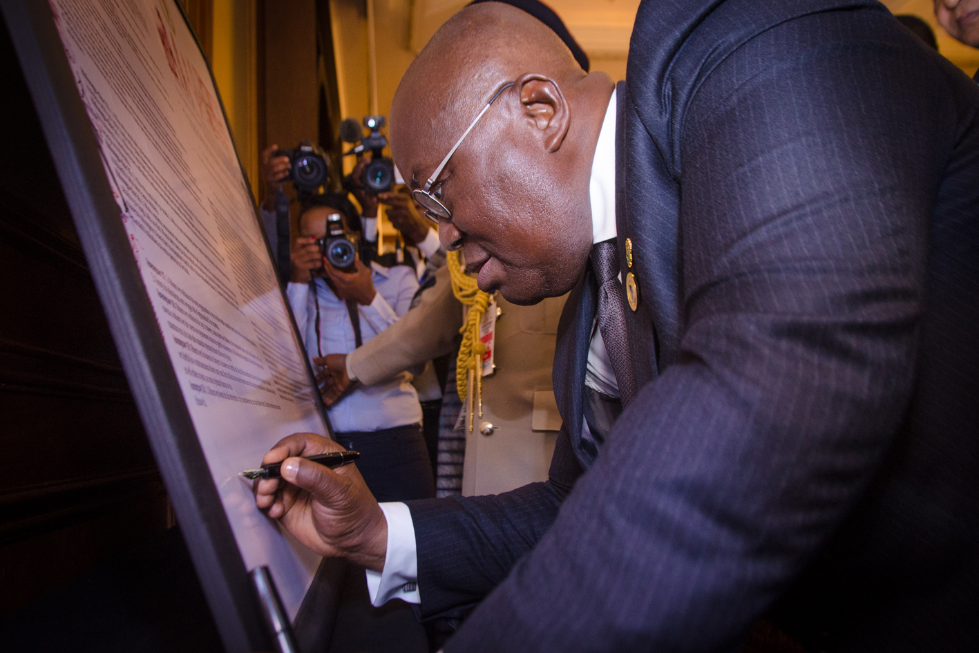The President of Ghana, Nana Akufo-Addo launched the celebration of the 70th anniversary of the Universal Declaration of Human Rights on the margins of the 30th African Union Summit in Addis Ababa. © OHCHR