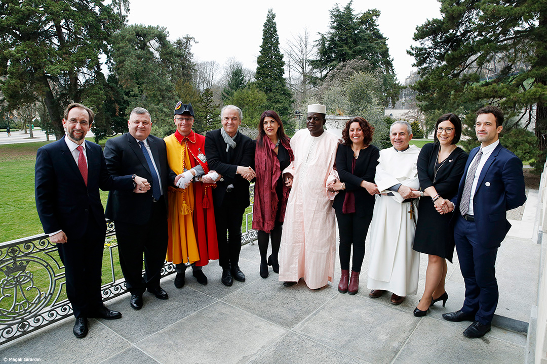 The UN High Commissioner for Human Rights with the mayor of Geneva and mayors of several cities. © Magali Girardin